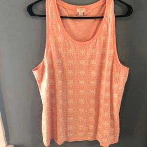 J. Crew Peach and White Embroidered Tank- XL